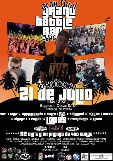 Gran Final Provincial Alicante Grand Battle Rap -Sábado, 21 julio 2018 Auditorio Julio Iglesias