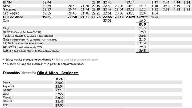 Horarios especiales del TRAM para la noche del Castell de l'Olla, 11 de agosto