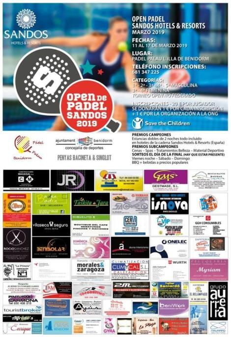 Open de Padel Sandos 2019 -Palau d´Esports l´Illa, del 11 al 17 de marzo