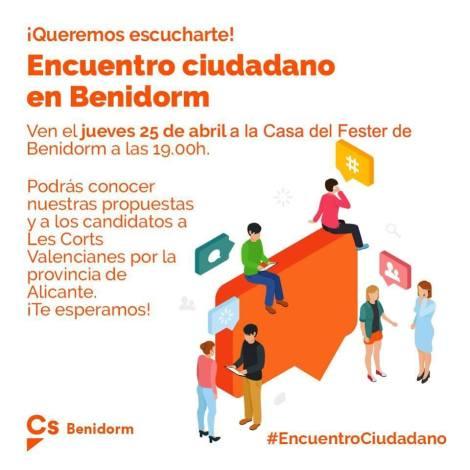 Encuentro Ciudadano en Benidorm -Casa del Fester, jueves 25 abril 2019 19h