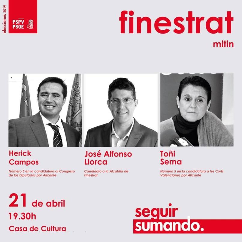 Mitin del PSPV Finestrat -Casa de Cultura, 21 abril 2019
