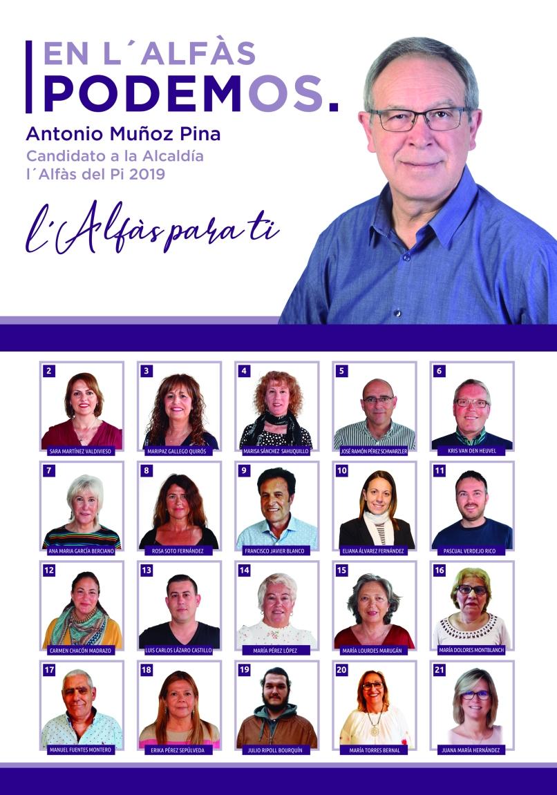 En l´Alfàs Podemos. Antonio Muñoz Pina, Candidato a la Alcaldía de l´Alfàs. L´Alfàs para ti
